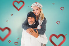 Составное изображение счастливых пар в зиме фасонирует обнимать Стоковые Фото