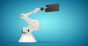 Составное изображение таблетки и робота против белой предпосылки 3d Стоковая Фотография
