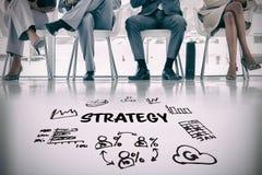 Составное изображение текста стратегии среди различных значков Стоковые Фотографии RF