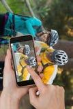 Составное изображение телефона рук касающего умного стоковые фото