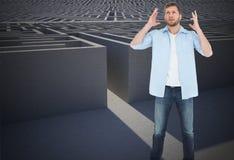 Составное изображение укоризненого человека смотря вверх Стоковые Изображения RF