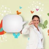 Составное изображение думая коммерсантки с пузырем речи Стоковая Фотография RF