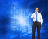 Составное изображение думая подбородка бизнесмена касающего Стоковое Изображение RF