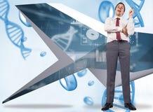 Составное изображение думая ручки удерживания бизнесмена Стоковое фото RF