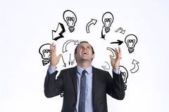 Составное изображение усиленный показывать бизнесмена стоковые изображения