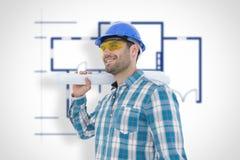 Составное изображение усмехаясь архитектора смотря отсутствующий пока держащ светокопию Стоковая Фотография