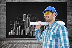 Составное изображение усмехаясь архитектора смотря отсутствующий пока держащ светокопию Стоковое Изображение
