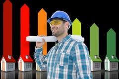Составное изображение усмехаясь архитектора смотря отсутствующий пока держащ светокопию Стоковые Фото