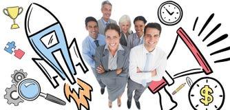 Составное изображение усмехаясь бизнесменов смотря камеру при пересеченные оружия Стоковое Изображение