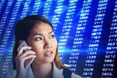 Составное изображение усмехаясь коммерсантки имея телефонный звонок Стоковые Изображения RF