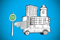 Составное изображение фургона на улице с идет doodle знака Стоковая Фотография RF