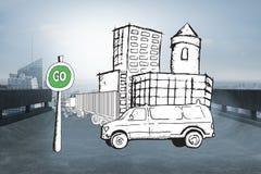 Составное изображение фургона на улице с идет doodle знака Стоковые Изображения