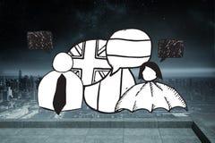Составное изображение флагов пузыря характера и речи doodle Стоковая Фотография