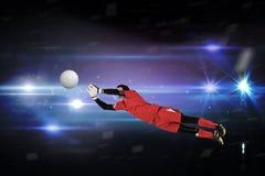Составное изображение хранителя цели пригонки скача вверх Стоковые Изображения