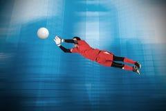 Составное изображение хранителя цели пригонки скача вверх Стоковое Фото