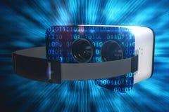 Составное изображение цифрового изображения белого шлемофона виртуальной реальности Стоковое Фото