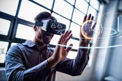 Составное изображение цифрового изображения глобуса с социальным взаимодействием Стоковое Изображение RF