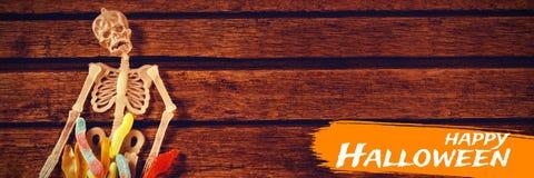 Составное изображение цифрового изображения счастливого текста хеллоуина Стоковые Изображения RF