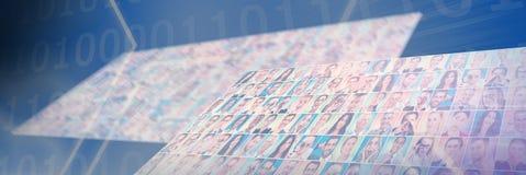 Составное изображение цифрового изображения формы шестиугольника с двоичными числами на экране Стоковые Изображения RF