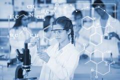 Составное изображение цифрового изображения химических формул Стоковое фото RF