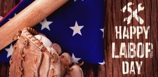 Составное изображение цифрового составного изображения счастливого текста Дня Трудаа с инструментами Стоковое Фото