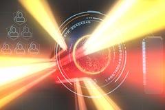 Составное изображение цифров произведенного изображения глобуса с большими данными отправляет СМС 3d Стоковое фото RF