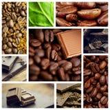 Составное изображение части семян шоколада и кофе совместно Стоковая Фотография