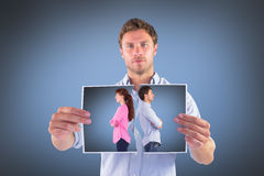Составное изображение человека и женщины смотря на прочь Стоковая Фотография RF