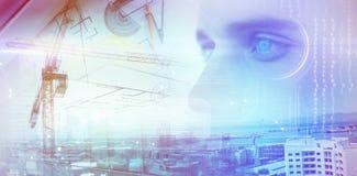 Составное изображение человека при голубые глазы смотря прочь стоковые фотографии rf