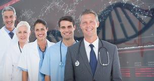 составное изображение 3D портрета уверенно медицинской бригады стоковые изображения