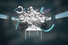 Составное изображение doodle бредовой мысли компьютера Стоковые Изображения RF