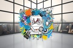 Составное изображение doodles события в жизни на краске брызгает Стоковые Фотографии RF