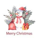 Составы акварели рождества Крышки, карточки, приглашения иллюстрация вектора