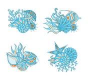 Составы морской флоры и фауны r Установите элементов для дизайна лета иллюстрация штока