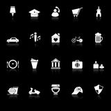 Составьте карту знак и значки символа с отражают на черной предпосылке Стоковая Фотография RF