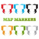 Составьте карту отметки в форме больших квадратов в равновеликом взгляде Установите штыри Стоковые Изображения RF