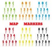 Составьте карту отметки в форме писем и номеров Установите штыри Стоковое Изображение RF