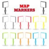 Составьте карту отметки в форме плоских плит в равновеликом взгляде Установите штыри Стоковое фото RF