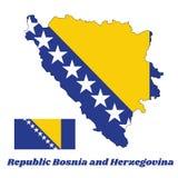 Составьте карту план и флаг Боснии, желтого правого треугольника и белых звезд и 2 половинных звезд верхней части и дна на сини бесплатная иллюстрация