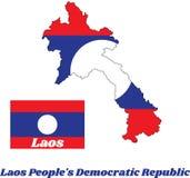 Составьте карту план и флаг Лаоса в цвете круга голубого красного цвета и белизны Лаоса Стоковые Фото