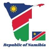Составьте карту план и флаг Намибии, бело-окаимленного красного раскосного диапазона излучая от более низкого угла подъем-стороны иллюстрация вектора