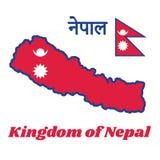 Составьте карту план и флаг Непала, 2 красных голубых треугольников: и белые луна и солнце иллюстрация вектора