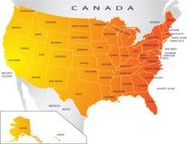 составьте карту политические США Стоковое Изображение