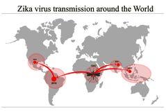 Составьте карту распространение вируса Zika Стоковые Фотографии RF
