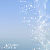 Составьте молекулу и дна связи, атом, нейроны Концепция науки для вашего дизайна Соединенные линии с точками Стоковое Изображение RF