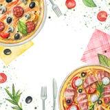 Состав акварели с пиццами, салфетками, овощами и tabl иллюстрация штока