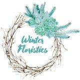 Состав акварели зимы Floristic иллюстрация штока