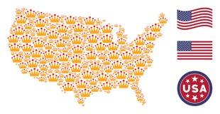 Состав американской карты стилизованный кроны бесплатная иллюстрация
