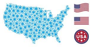 Состав американской карты стилизованный снежинки иллюстрация вектора