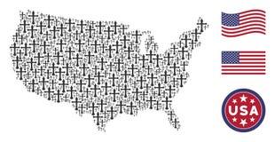Состав американской карты стилизованный христианского креста иллюстрация вектора